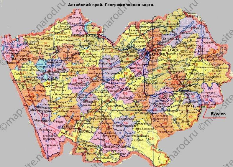 Расстояния от г.Барнаула в км